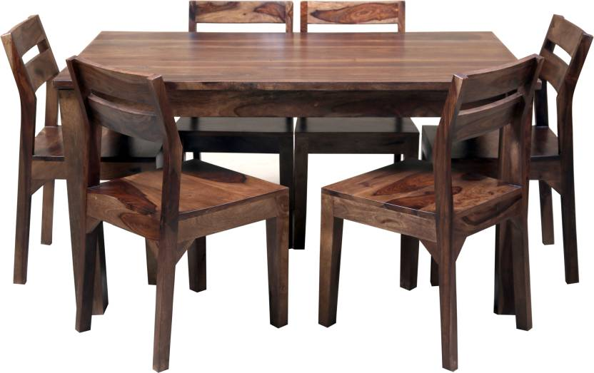 Induscraft Sheesham Wood Solid Wood 6 Seater Dining Set Finish Color   Brown Induscraft Dining Sets