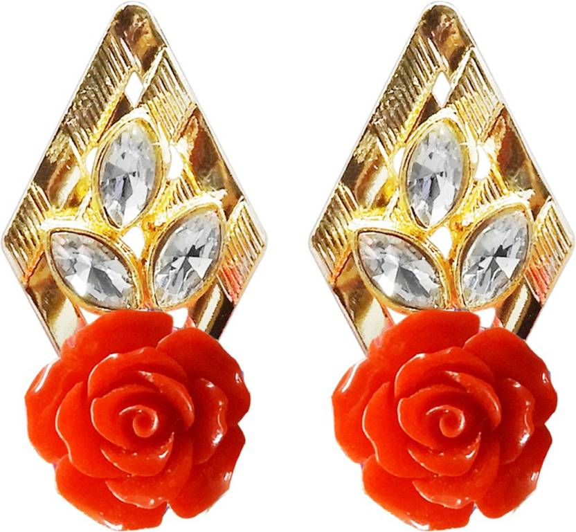 7610419df Flipkart.com - Buy Kriaa by JewelMaze Gold Plated Resin Stone Red Floral  Dangler Earrings-1311403E Alloy Dangle Earring Online at Best Prices in  India