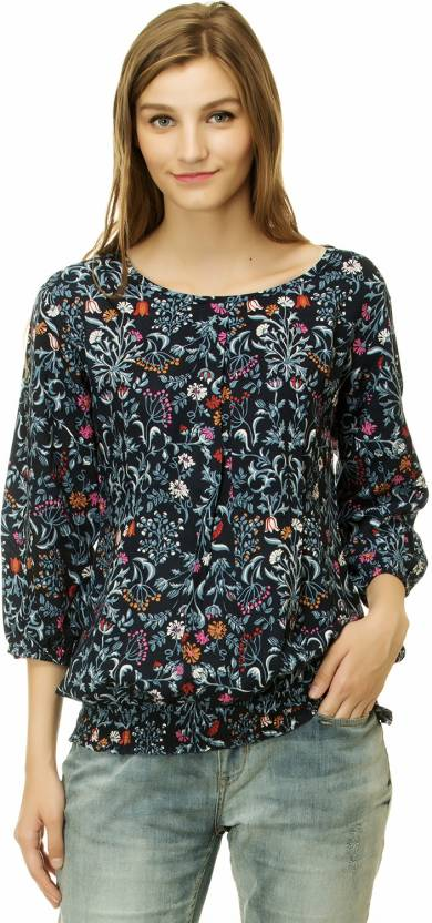 1ea28ed5ea2 Mokshi Casual Balloon Sleeve Floral Print Women s Multicolor Top ...