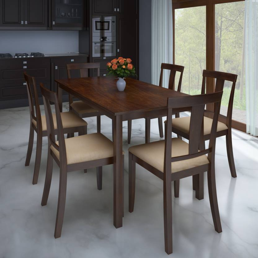 Flipkart Perfect Homes Fraser Rubber Wood 6 Seater Dining Set Price