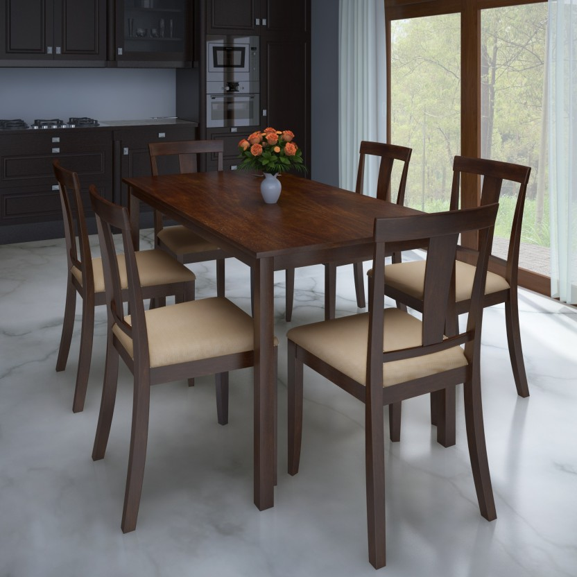 Flipkart Perfect Homes Fraser Rubber Wood 6 Seater Dining Set