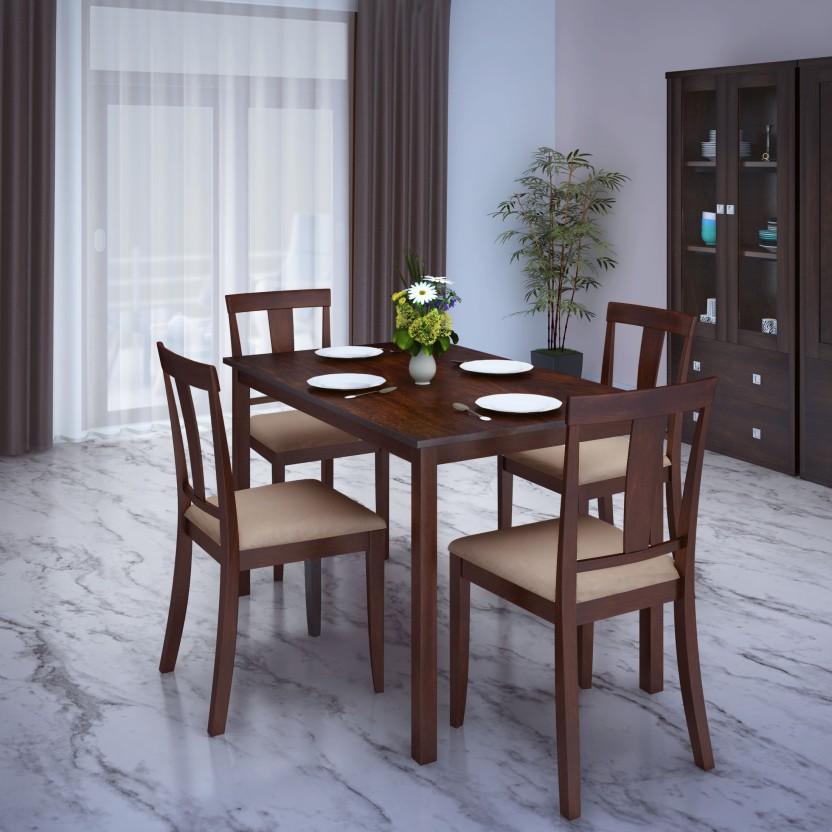 Flipkart Perfect Homes Fraser Rubber Wood 4 Seater Dining Set