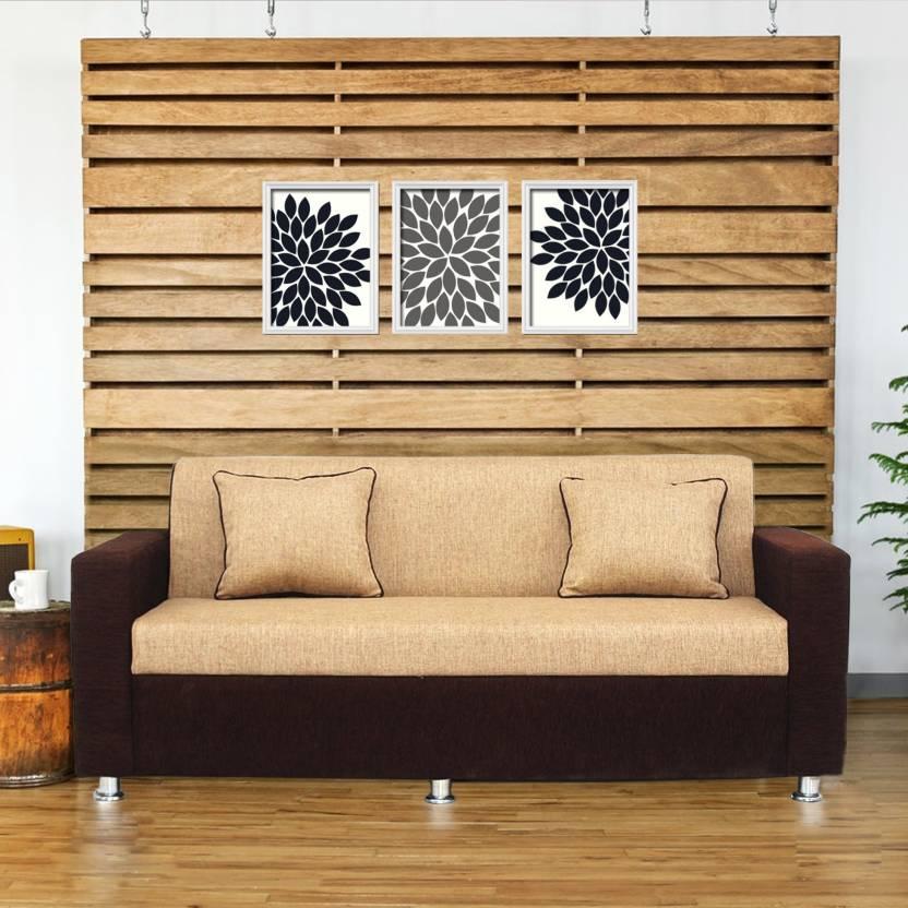 Bharat Lifestyle Tulip 3 Seater Brown Cream Color Fabric 3 Seater Sofa