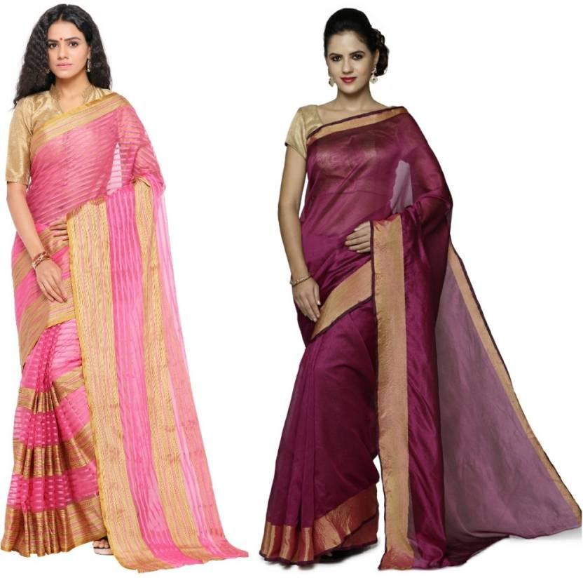 sarvagny clothing Embellished Kanjivaram Matka Silk Saree
