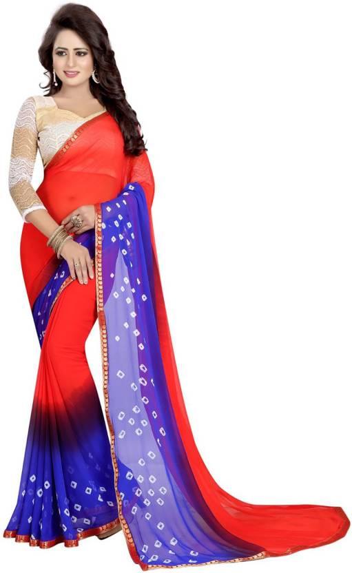 41f9675dd6 Ishin Dyed Bandhani Synthetic Chiffon Saree (Red, Dark Blue, Black)