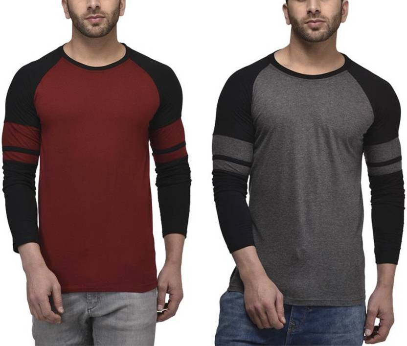 UZEE Solid Mens Round Neck Grey T-Shirt  (Pack of 2)