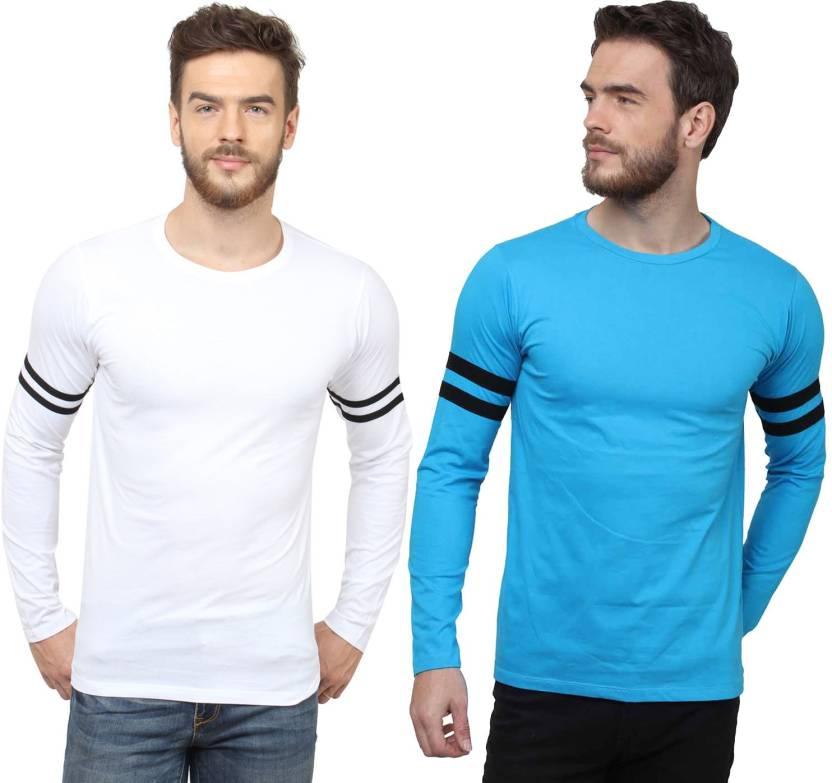 7c6a12ff3c72 SayItLoud Solid Men's Round Neck Blue, Black, White, Black T-Shirt (Pack of  2)