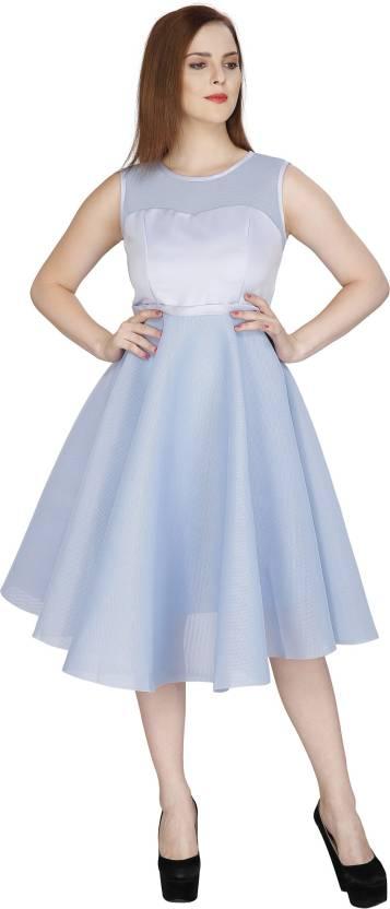 391e2f14bfee RITU DESIGNS Women Fit and Flare Light Blue Dress - Buy Sky Blue ...