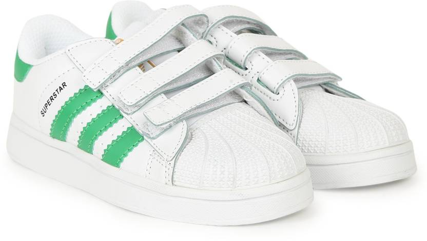 los angeles 3a32d 8f405 ADIDAS Boys  Girls Velcro Sneakers (White)