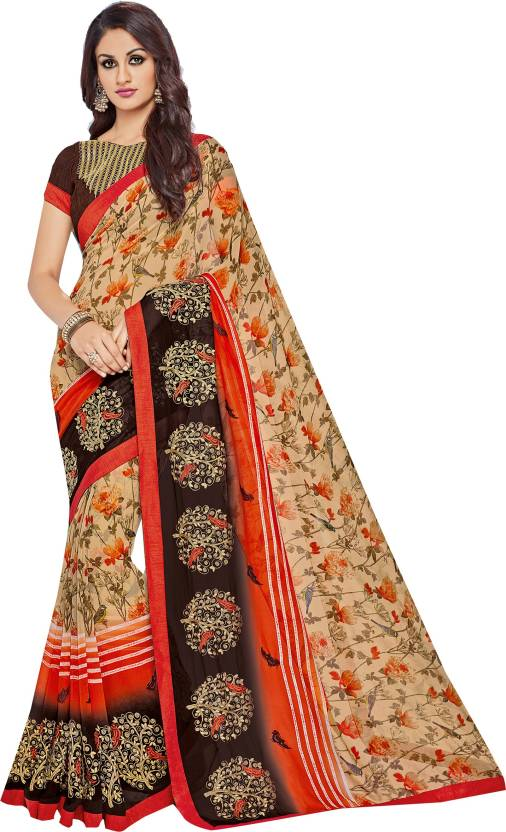 9d9acd711e Only Vimal Embroidered, Printed Fashion Georgette Saree (Multicolor)