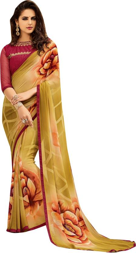 0b8bdbe391 Buy Only Vimal Floral Print Fashion Georgette Multicolor Sarees ...