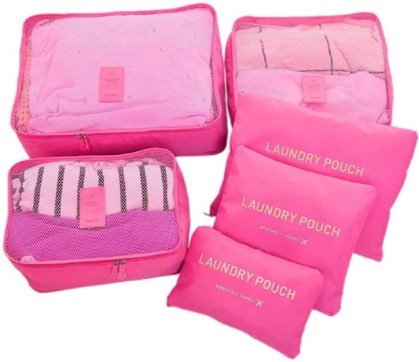 2f30bf88deac House of kart Travel Organizer 6 Pieces/1 Set Cloth Organizer - Pink  -Suitcase Oraganizer Travel Cloth Underwear Socks Storage Bag Cosmetic  Organiser ...