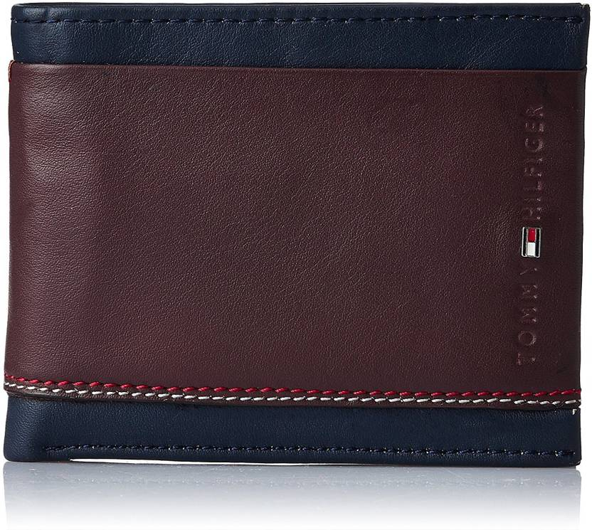 4833453098 Tommy Hilfiger Men Brown, Blue Genuine Leather Wallet (4 Card Slots)