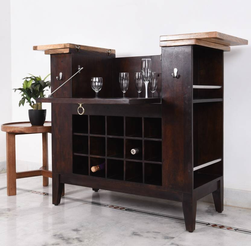 Home Edge Orbin Solid Wood Bar Cabinet Finish Color Teak And Natural
