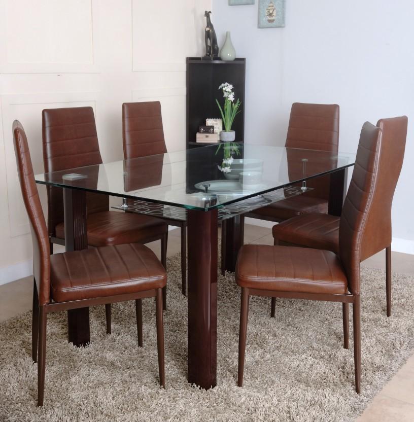 HomeTown Fieste Glass 6 Seater Dining Set