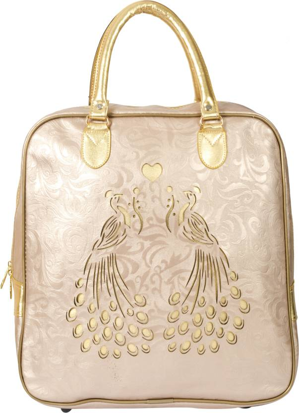 Buy Shopigator Tote Bronze Gold Ethnic Peacock Cut Work Travel Bag ... 1ff092e2574ce
