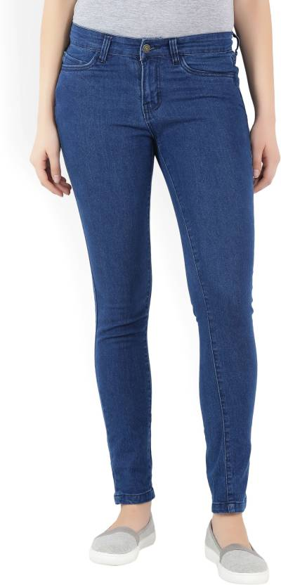Provogue Skinny Womens Dark Blue Jeans
