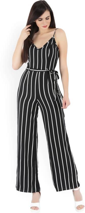 7c544b3c60d5 Forever 21 Striped Women s Jumpsuit - Buy BLACK WHITE Forever 21 ...