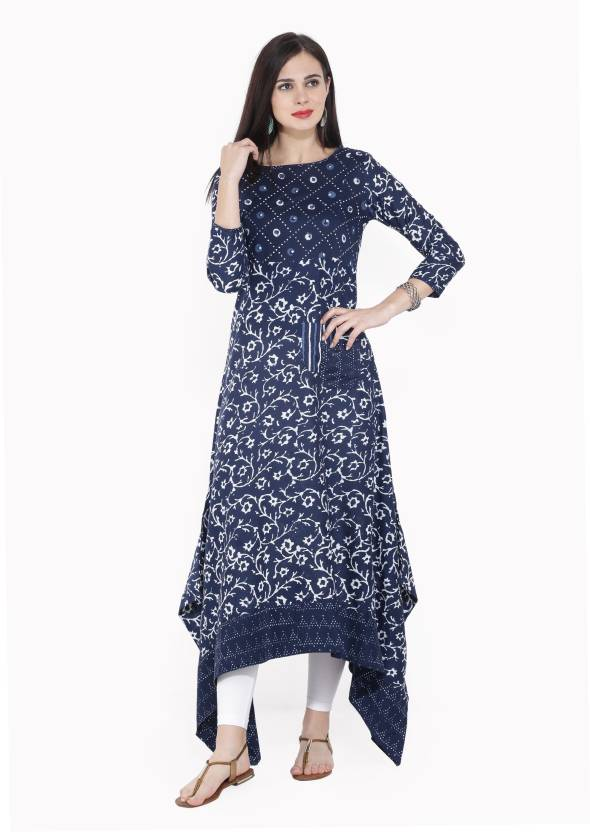 7b61ccbfa Vishudh Women s Printed Trail Cut Kurta - Buy NAVY BLUE WHITE ...
