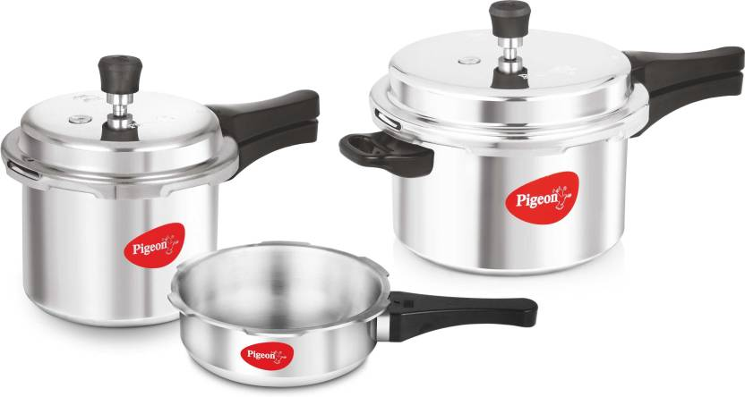 Pigeon Special Combo Pack 2 L, 3 L, 5 L Pressure Cooker with Induction Bottom