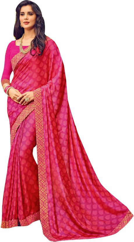 5ddb4f245c Buy Shaily Retails Printed Fashion Satin Pink Sarees Online @ Best ...