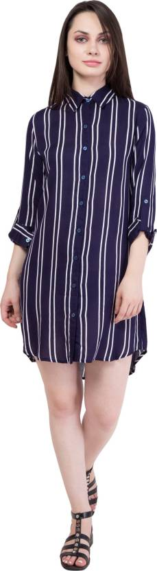 Hive91 Women's Shirt Blue, White Dress