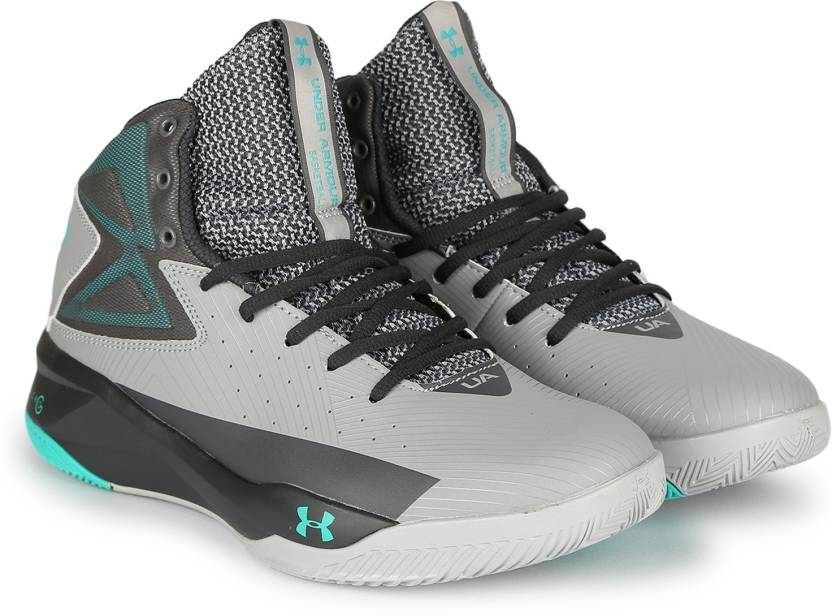 db7fc0f81baa Under Armour UA ROCKET Basketball Shoes For Men - Buy Gray green ...