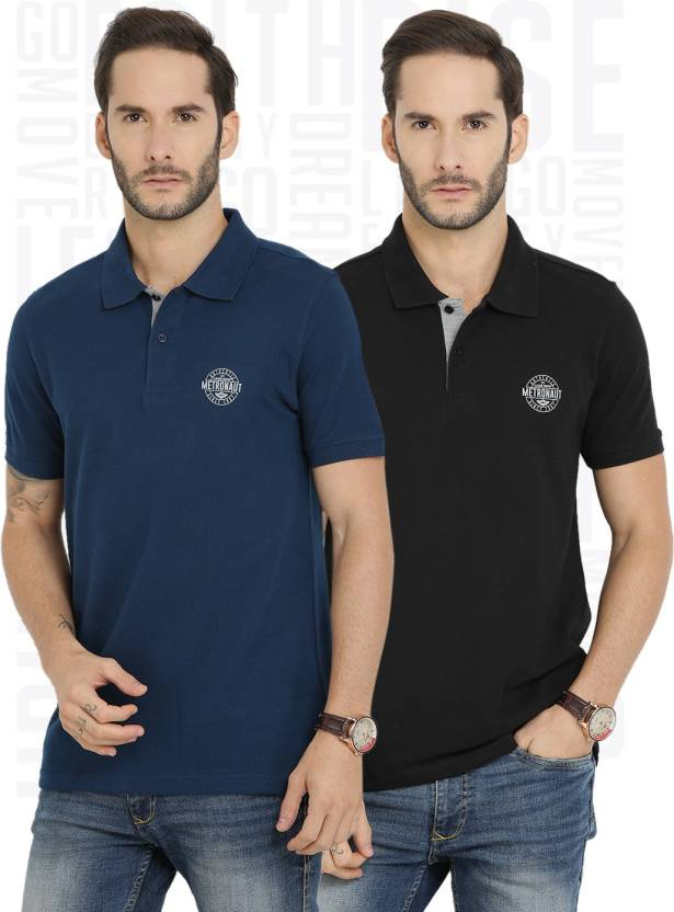 Metronaut Solid Mens Polo Neck Black, Blue T-Shirt  (Pack of 2)