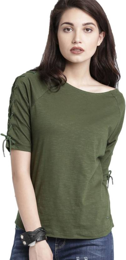 ce4b09f2d890 Roadster Solid Women Boat Neck Green T-Shirt - Buy Roadster Solid Women  Boat Neck Green T-Shirt Online at Best Prices in India   Flipkart.com