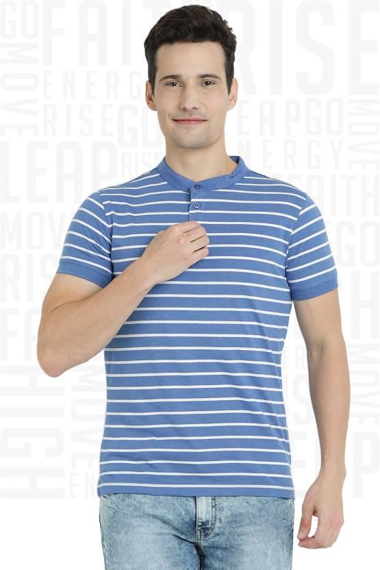 Metronaut Striped Men's Henley White T-Shirt