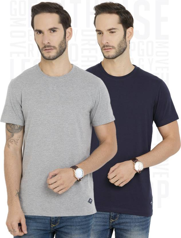 Metronaut Solid Mens Round Neck Blue, Grey T-Shirt  (Pack of 2)