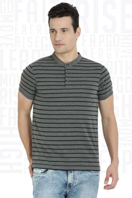 Metronaut Striped Men's Henley Grey T-Shirt
