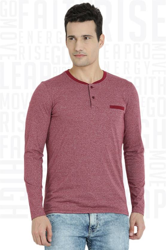 Metronaut Solid Mens Henley Red T-Shirt