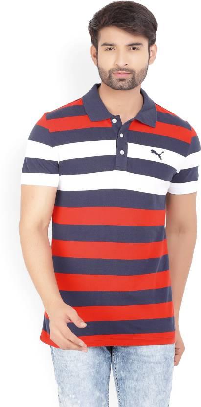 14cc6e2468 Puma Striped Men's Polo Neck Blue T-Shirt - Buy red Puma Striped ...