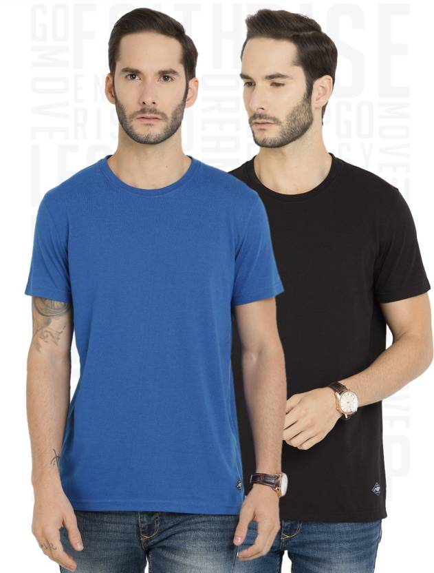 Metronaut Solid Men's Round Neck Black, Blue T-Shirt  (Pack of 2)