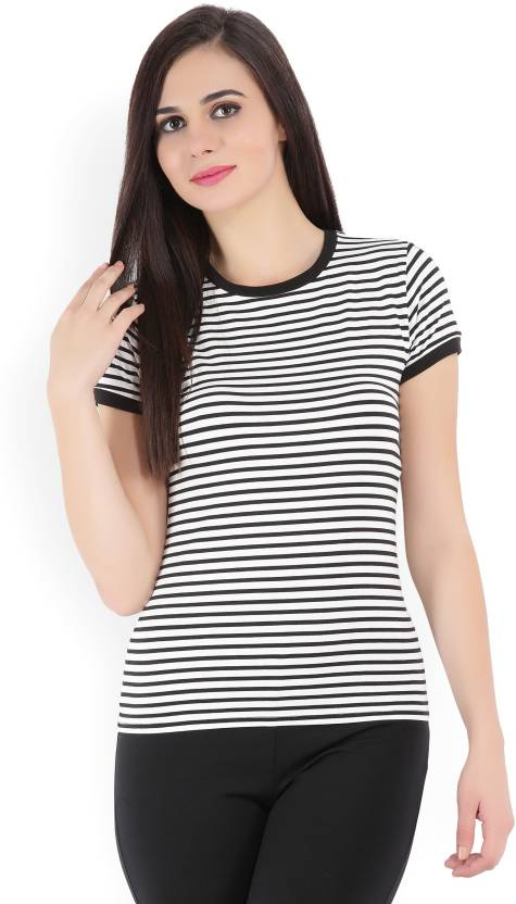 Forever 21 Casual Cap Sleeve Striped Women s Black 8be75a25ffe0