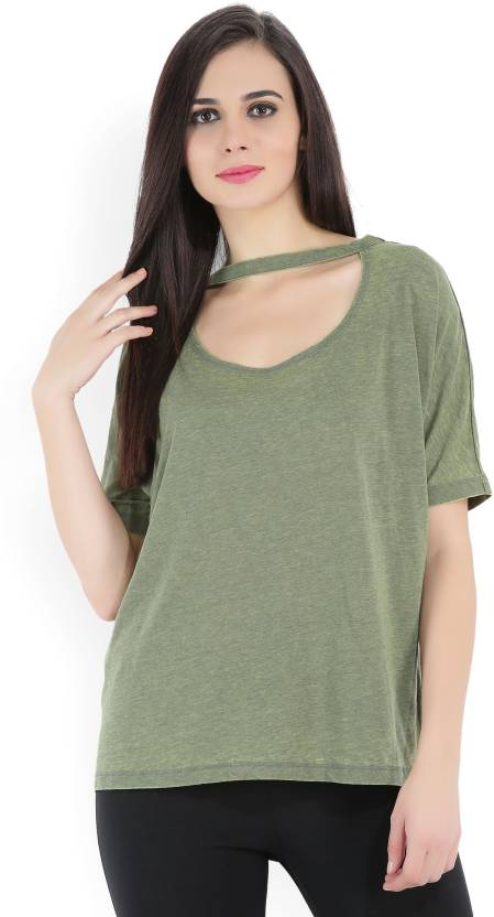 1a7574d6e3e Forever 21 Casual Half Sleeve Solid Women s Green Top - Buy OLIVE Forever 21  Casual Half Sleeve Solid Women s Green Top Online at Best Prices in India  ...