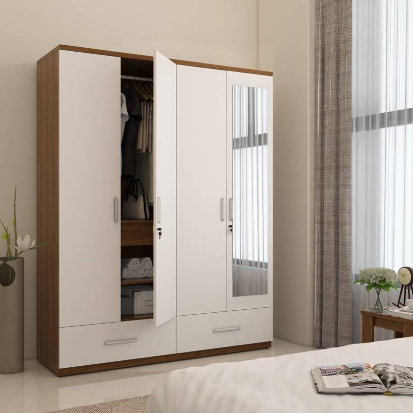 Spacewood classy engineered wood 4 door wardrobe price in for Bedroom cupboard designs with mirror