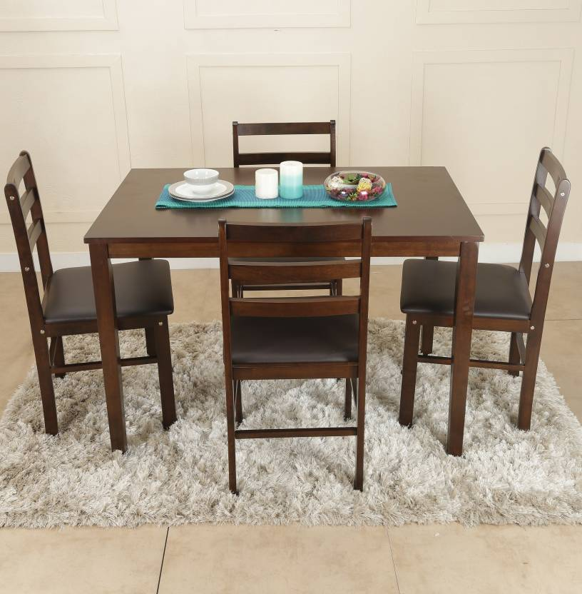 HomeTown Bolton Solid Wood 4 Seater Dining Set  (Finish Color - Dark Walnut)