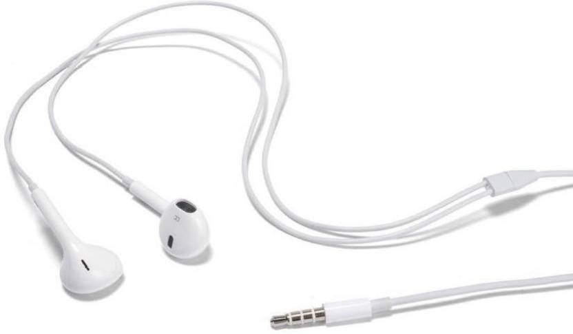 shopcraze earphones headphones earpods ear buds with mic for iphone / ipad  / ipod wired headset with mic (white) fdg475 smart headphones (wired)