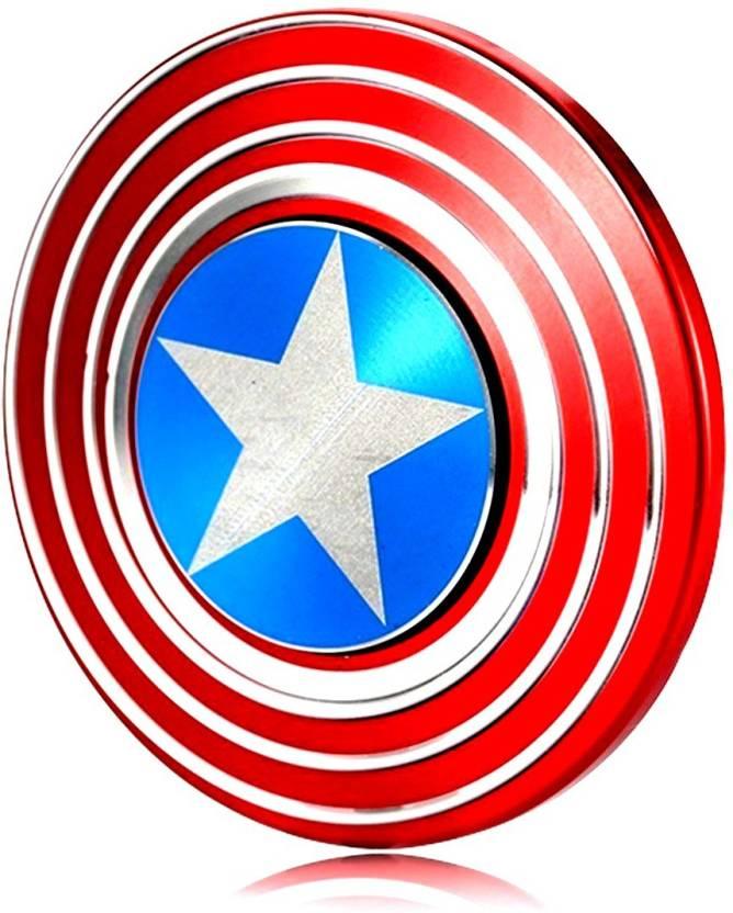 HUNGER TOYS Metal Captain America Shield Fidget Spinner Fast Spin (Multicolor)