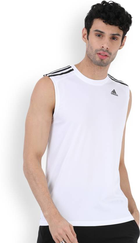 e9a9914ebf6c0 ADIDAS Solid Men s Round Neck T-Shirt - Buy White ADIDAS Solid Men s Round  Neck T-Shirt Online at Best Prices in India