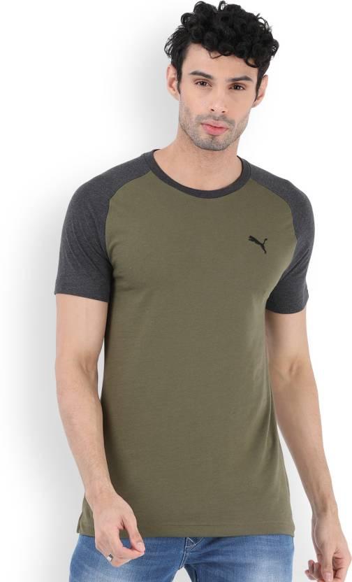 4da4eb4c3cf Puma Solid Men's Round Neck Green T-Shirt - Buy OLIVE NIGHT / PUMABLACK Puma  Solid Men's Round Neck Green T-Shirt Online at Best Prices in India |  Flipkart. ...