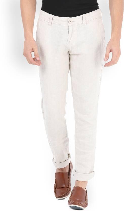 92167c4f0e5 Celio Slim Fit Men s Linen White Trousers - Buy NATURAL Celio Slim Fit  Men s Linen White Trousers Online at Best Prices in India