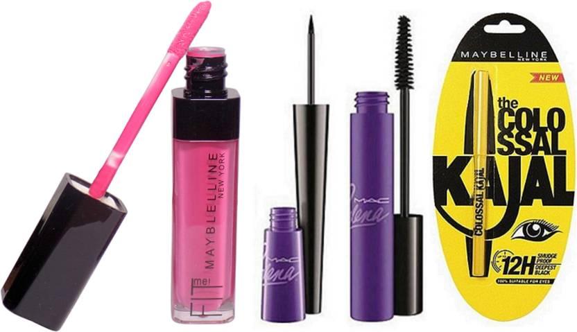 d5bf998a7ee Maybelline Cutiepy Lip Liquid Gloss, Colossal Kajal & Mac Selena Liquid  Black Eyeliner With Mascara (Set of 1)