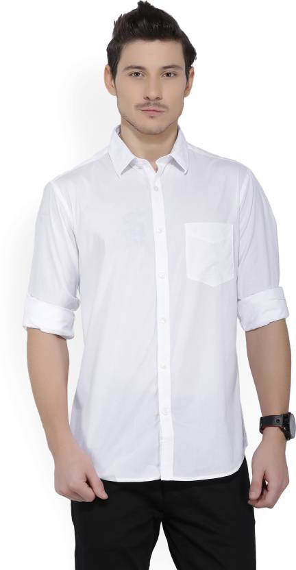 f0ea4ea47e8 Indian Terrain Men s Solid Casual White Shirt - Buy White Indian Terrain  Men s Solid Casual White Shirt Online at Best Prices in India
