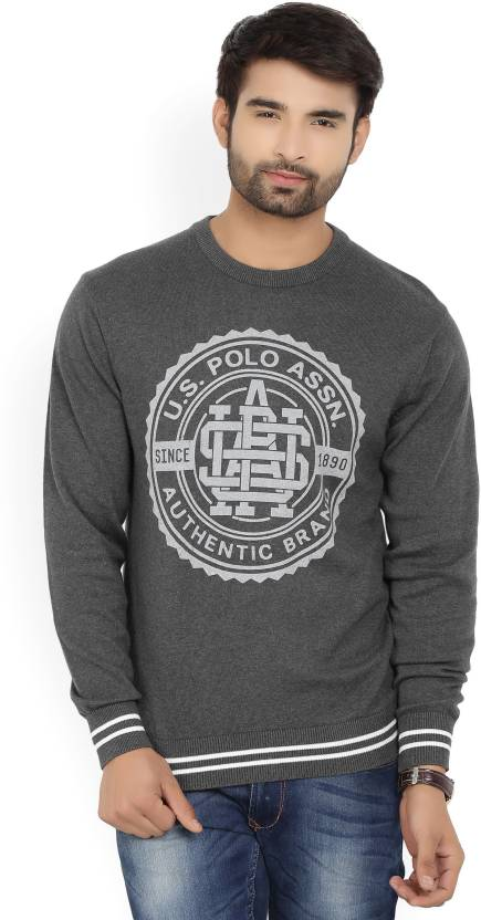 U.S. Polo Assn. Printed Round Neck Casual Men's Grey Sweater