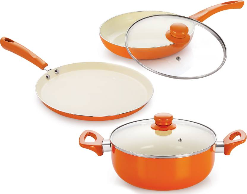 0742dee16a5 NIRLON ceramic non stick cookware sets Induction Bottom Cookware Set  (Aluminium