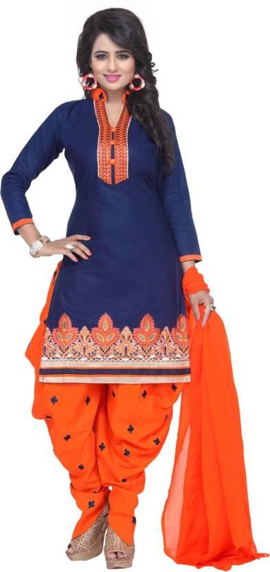 Fashion Ritmo Cotton Self Design Semi-stitched Salwar Suit Dupatta Material
