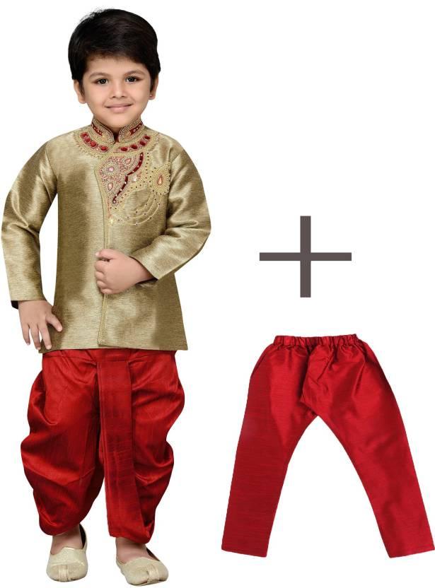 771a0c75757 AJ Dezines Boys Festive   Party Kurta and Dhoti Pant Set (Brown Pack of 1)